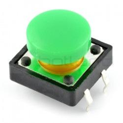 Tact Switch 12x12 mm z nasadką okrągły - zielony