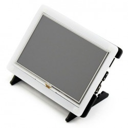 Ekran dotykowy rezystancyjny LCD TFT 5'' 800x480px HDMI + GPIO dla Raspberry Pi 2/B+ + obudowa czarno-biała