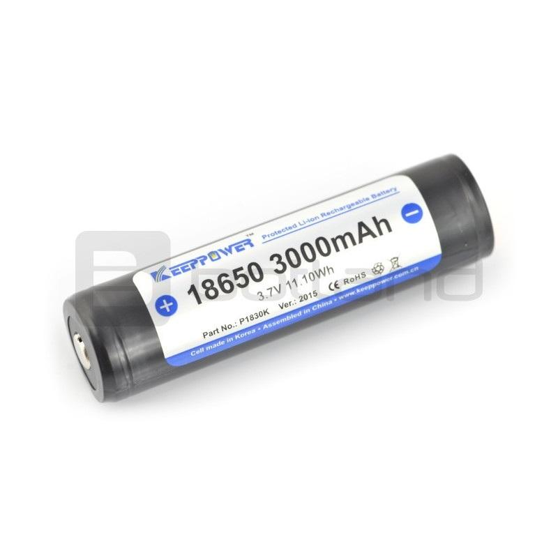 Ogniwo 18650 Li-Ion KeepPower 3000mAh z zabezpieczeniami