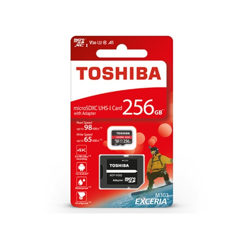 Karta pamięci Toshiba Exceria M303 microSD 256GB 98MB/s UHS-I klasa U3 z adapterem