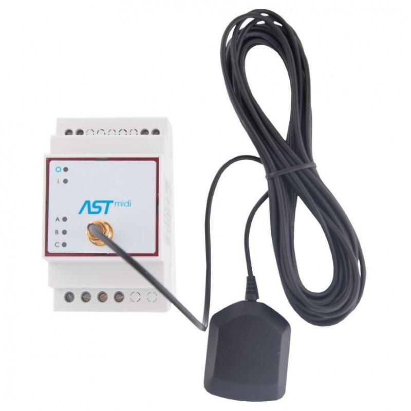 ASTmidi - zegar astronomiczny na szynę DIN z GPS - 3 x wyjście  230V / 5A