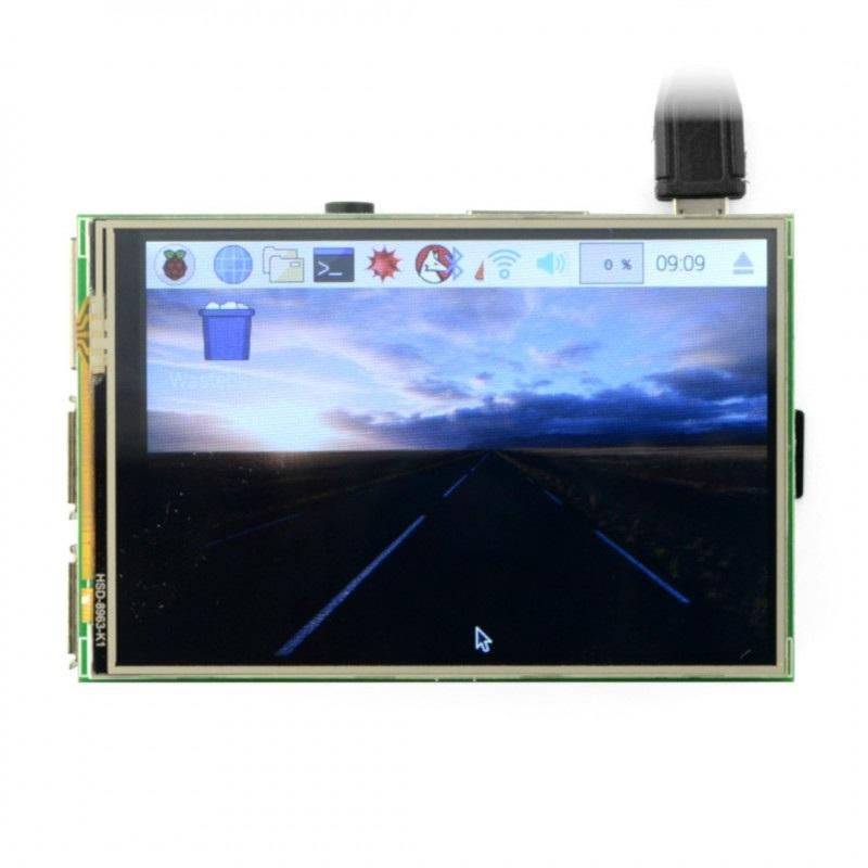 Ekran dotykowy rezystancyjny LCD TFT 3,5'' 480x320px dla Raspberry Pi 3B/3/2