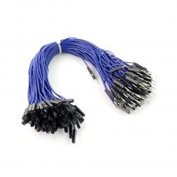 Przewody połączeniowe żeńsko-męskie 20cm niebieskie - 100 szt.