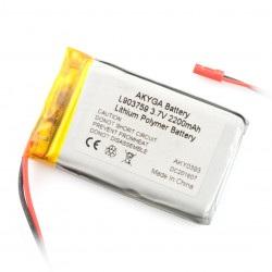 Akumulator Li-Pol Akyga 2200mAh 1S 3.7V - złącze JST-BEC + gniazdo
