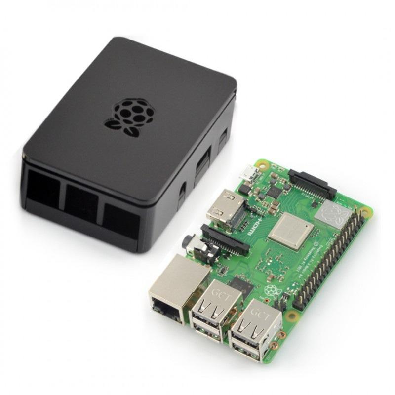 Zestaw Raspberry Pi 3 B+ WiFi + obudowa RS Pro Plus z klapką - czarna