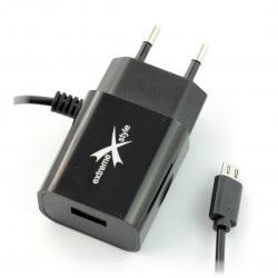 Zasilacz Ampere ATCMU24B microUSB + USB 2,4A - czarny