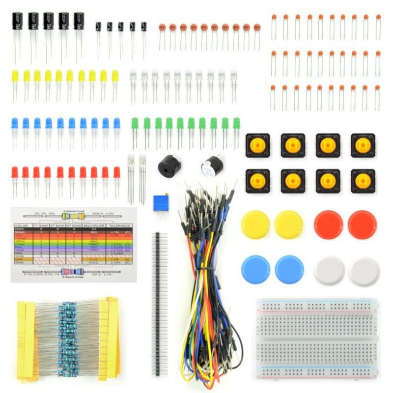 Zestaw elementów elektronicznych + płytka stykowa - AM402 - 96 elementów