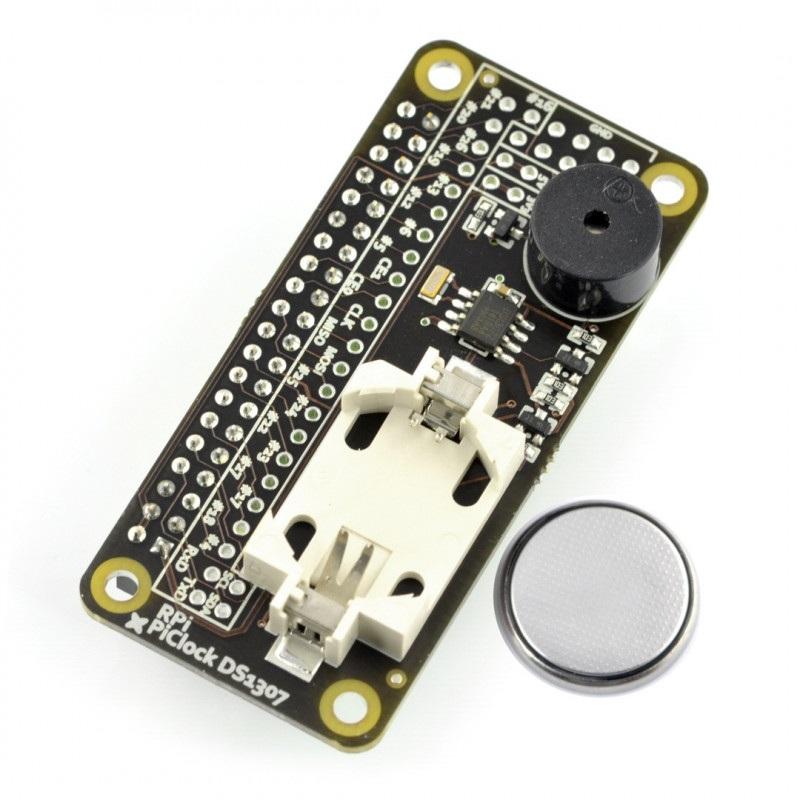 Pi Clock DS1307 - zegar czasu rzeczywistego RTC I2C + buzzer + bateria do Raspberry Pi 3/2/B+