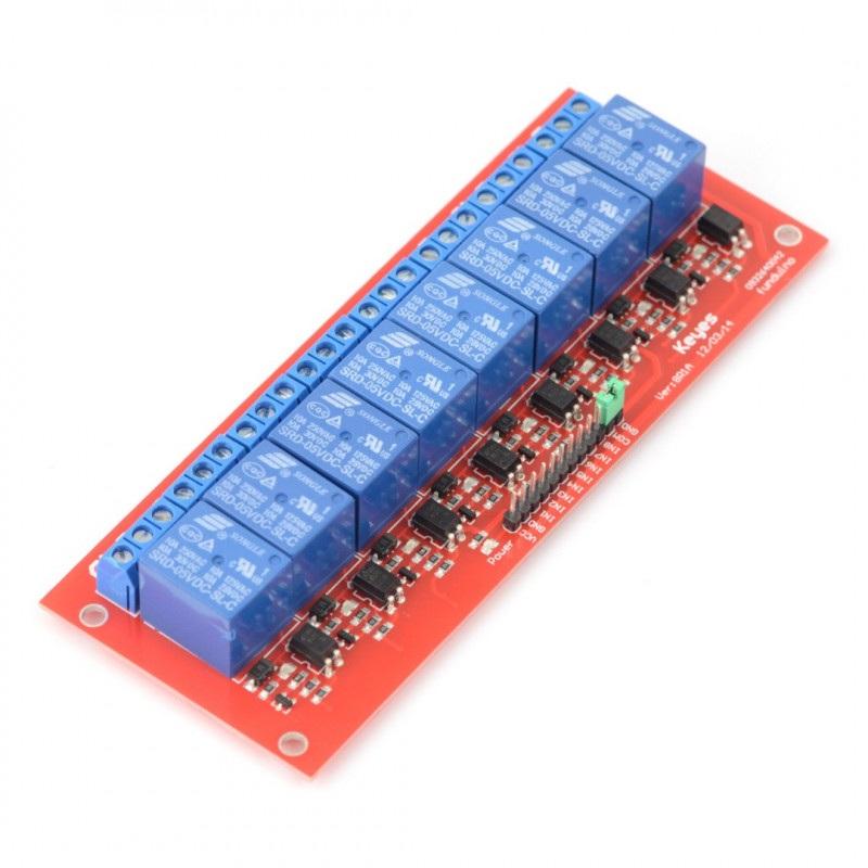 Moduł przekaźników 8 kanałów z optoizolacją - styki 7A/240VAC - cewka 5V