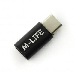 Adapter przejściówka Micro USB - USB typu C M-Life - czarna
