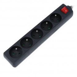 Listwa zasilająca Lanberg - czarna 5x 230V z wyłącznikiem 3m