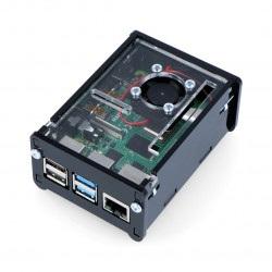 Obudowa Raspberry Pi Model 4B z wentylatorem - czarna