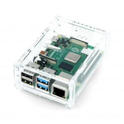 Obudowa Raspberry Pi Model 4B z mocowaniem na kamere - przezroczysta