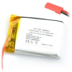 Akumulator Li-Pol Akyga 650mAh 1S 3.7V - złącze JST-BEC + gniazdo
