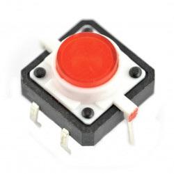 Tact Switch 12x12, 7mm THT 6pin - czerwone podświetlenie