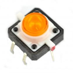 Tact Switch 12x12, 7mm THT 6pin - pomarańczowe podświetlenie