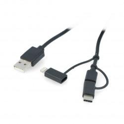 Przewód Lanberg 3w1 USB typ A - microUSB + lightning + USB typ C 2.0 czarny PVC - 1,8m
