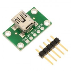 MiniUSB typ B 5 pin - złącze do płytki stykowej - Pololu