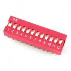 Przełącznik DIP switch 12-polowy - czerwony
