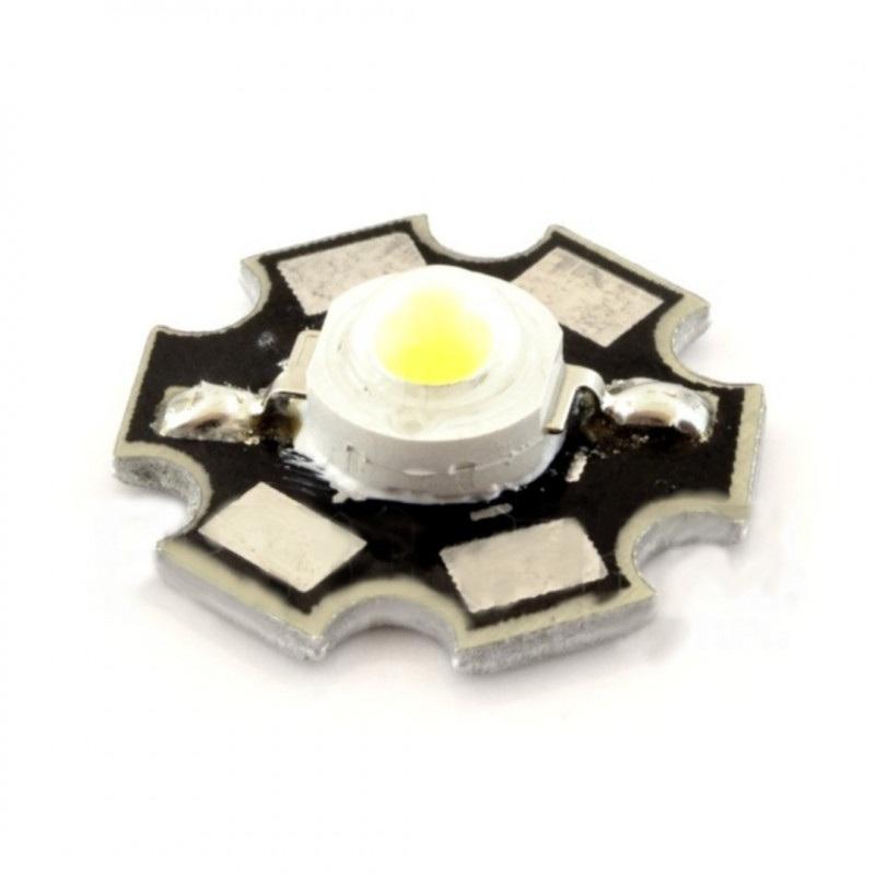 Dioda Power LED 1W czysta biel z radiatorem