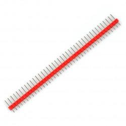 Wtyk goldpin 1x40 prosty czerwony raster 2,54 mm