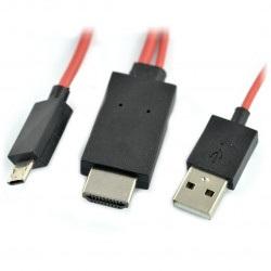 Przewód MHL 11 pin - microUSB, HDMI i USB