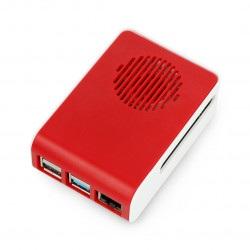 Obudowa do Raspberry Pi 4B - ABS - LT-4A11- biało czerwona - z wentylatorem niebieskie podświetlenie LED