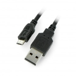 Przewód microUSB z przełącznikiem On/Off czarny - 1m