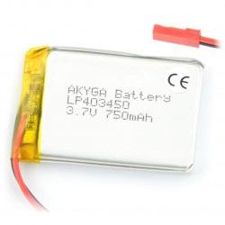 Akumulator Li-Pol Akyga 750mAh 1S 3.7V - złącze JST-BEC + gniazdo
