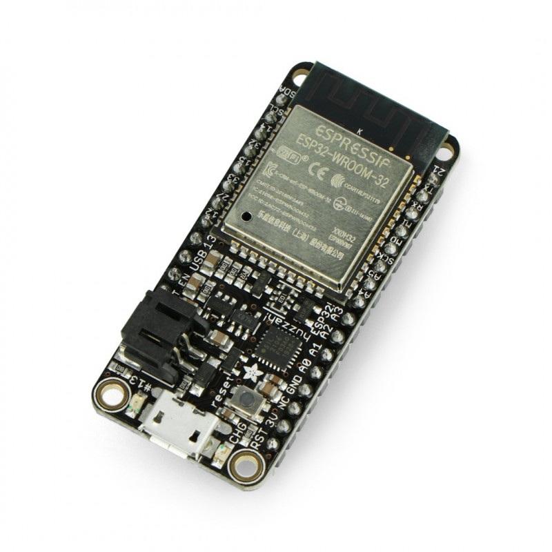 Adafruit Feather Huzzah ESP32 - moduł WiFi, Bluetooth GPIO - wlutowane złącza