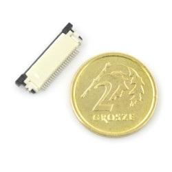 Złącze żeńskie ZIF, FFC/FPC, poziome 22 pin, raster 0,5 mm, górny kontakt