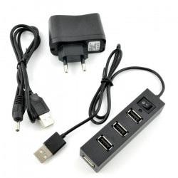 HUB USB 1.1 4-porty z włącznikiem + zasilacz 5V/2,5A