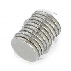 Magnes neodymowy okrągły z warstwą klejącą S N35/Ni - 10x1mm