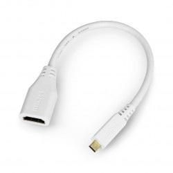 Adapter microHDMI - HDMI oryginalny dla Raspberry Pi 4B - 235 mm - biały