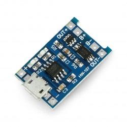 Ładowarka Li-Pol TP4056 pojedyncza cela 1S 3,7V microUSB z zabezpieczeniami