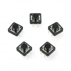 Tact Switch 12x12, 7mm THT 4pin - czarny