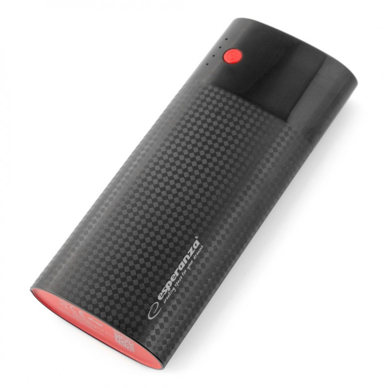 Mobilna bateria PowerBank Esperanza EMP115KC 13800mAh - czarno-bordowa