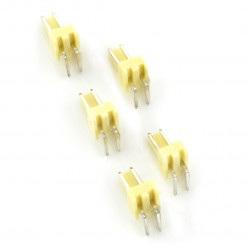 Złącze raster 2,54mm - wtyk kątowy 2-pinowy - 5szt.