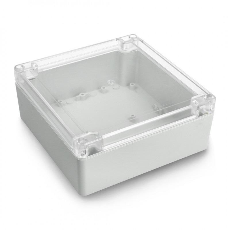 Obudowa plastikowa Kradex ZP150.150.60 JD PC z uszczelką i mosiężnymi tulejkami IP67 - 150x150x60mm jasna