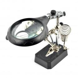 Uchwyt z lupą, podświetleniem LED - trzecia ręka TE-800