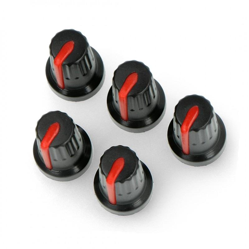 Gałka potencjometru czerwona - 14mm