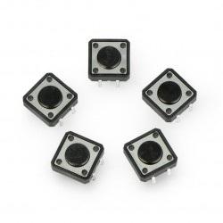Tact Switch 12x12, 4mm THT 4pin - czarny