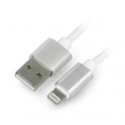 Przewód silikonowy USB A - Lightning do iPhone / iPad / iPod - 1.5m biały