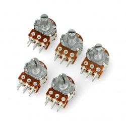 Potencjometr obrotowy 2x 500kΩ liniowy 1/8W - 5szt.