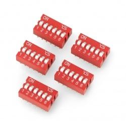 Przełącznik DIP switch 6-polowy - czerwony - 5 szt.