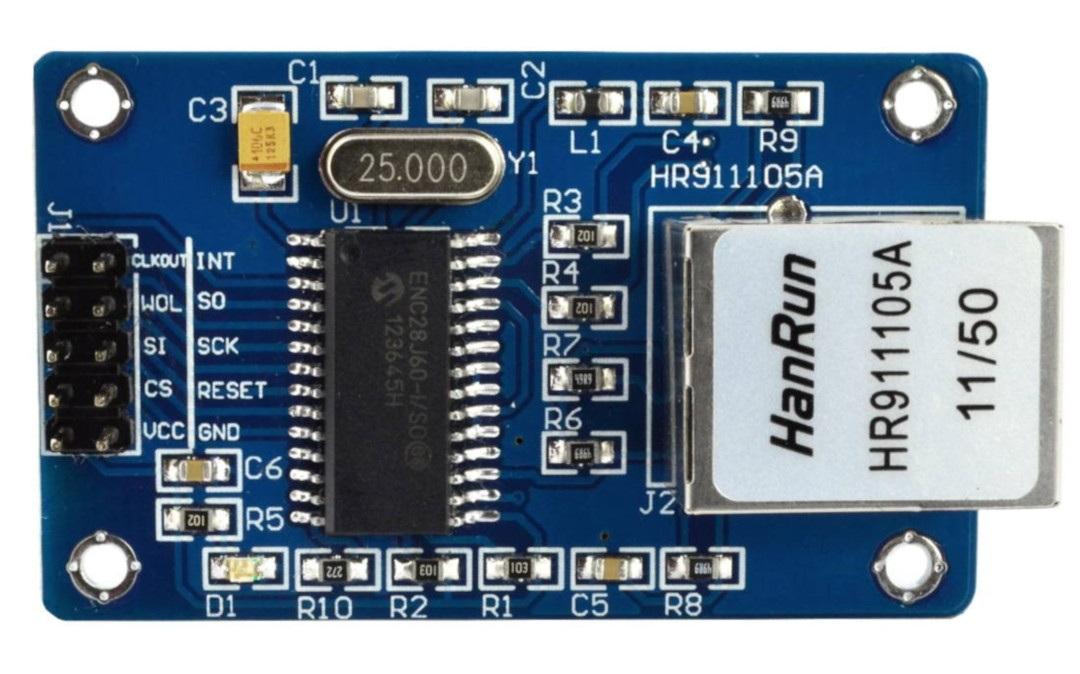 Moduł Ethernet ENC28J60 - opis wyprowadzeń