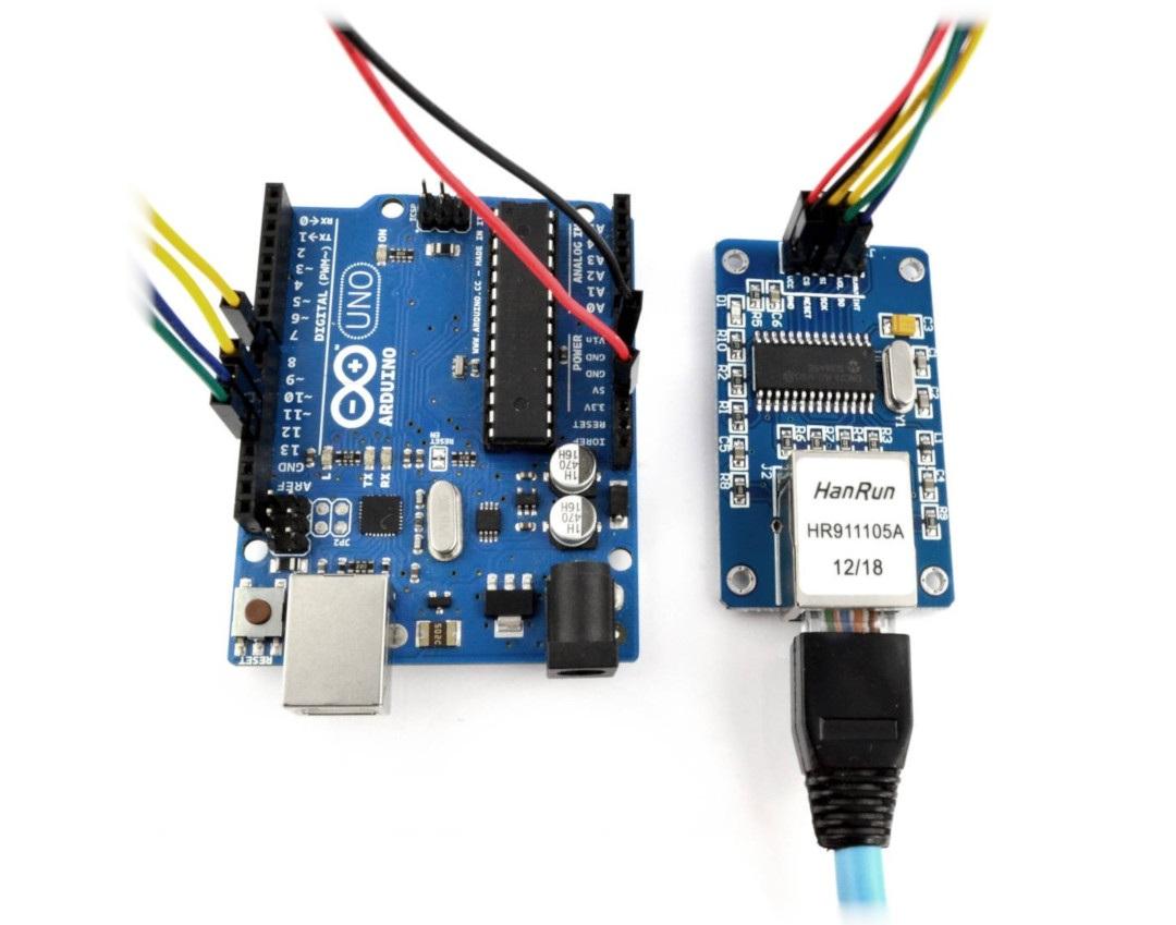 Moduł ENC28J60 podłączony z Arduino