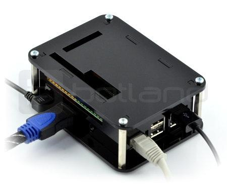 Obudowa do Raspberry Pi 3B+/3B/2B i moduł PiFace Digital 2 - czarna