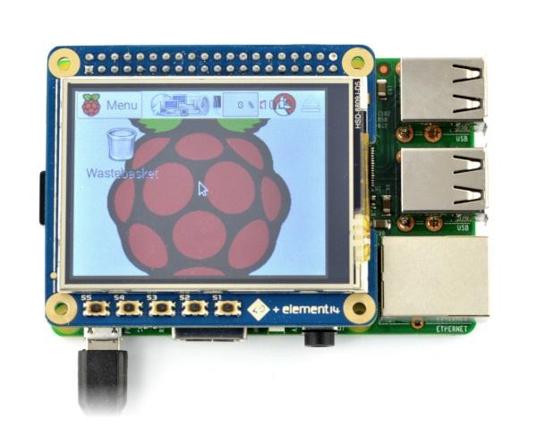 Ekran dotykowy rezystancyjny LCD TFT 2,4'' 320x240px GPIO 4DPi-24-HAT dla Raspberry Pi 3/2/B+