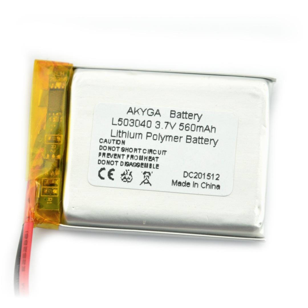 Akumulator Li-Pol Akyga 3,7V 1S 190mAh konektor+gniazdo 2,54 JST - 2 piny